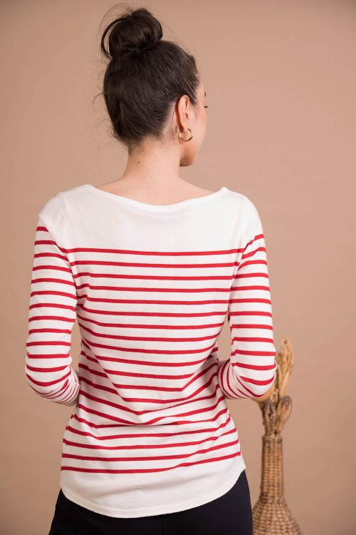 Pulover alb cu dungi rosii 2080 A/R