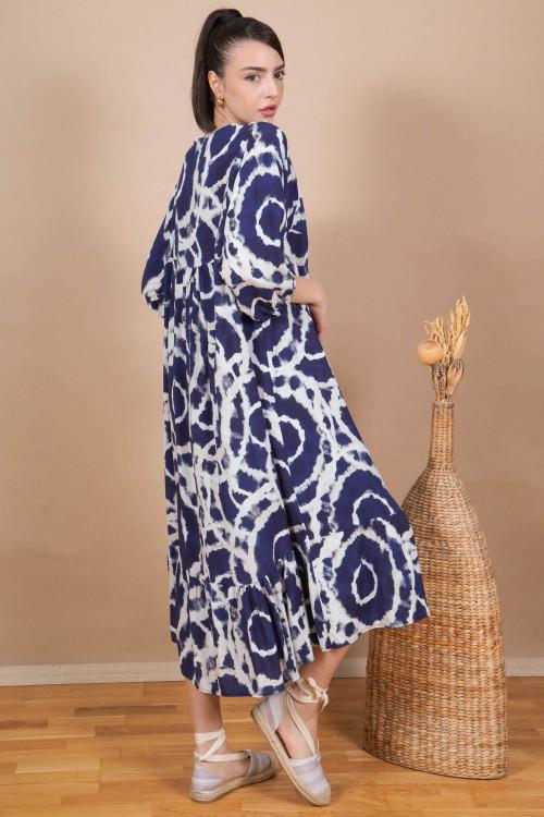Rochie lunga cu cercuri tie-dye 3787 Bleumarin