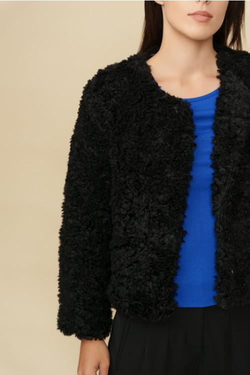 Jacheta dama din blana ecologica Y154 Neagra