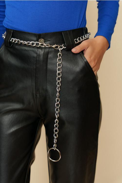 Pantaloni din piele ecologica cu lant 8297 Negri