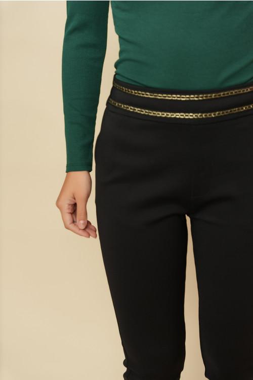 Pantaloni femei cu snur metalic L043 Negri