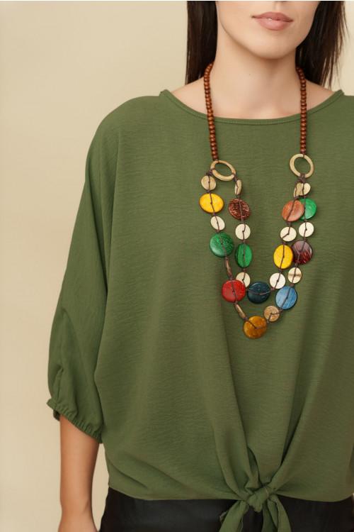 Bluza dama cu margele colorate 9044 Kaki