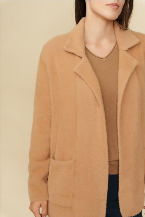 Jacheta pulover dama cu buzunare B1202 Bej