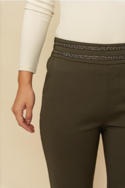 Pantaloni femei cu snur metalic L043 Kaki