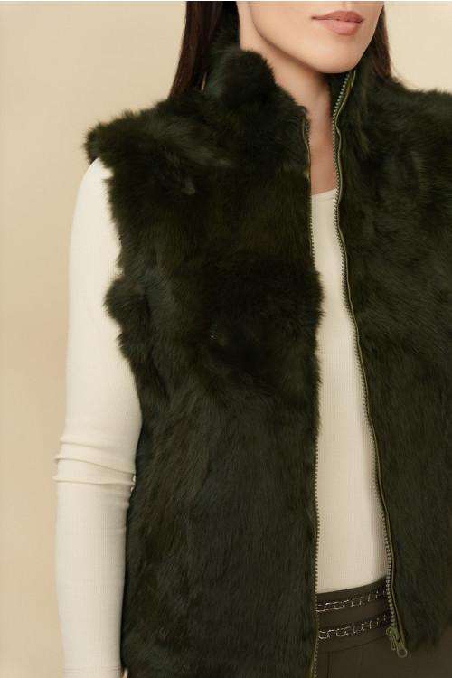 Vesta kaki cu fermoar si blana de iepure 1483-1 K