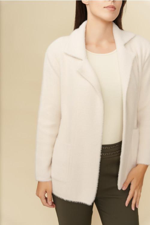 Jacheta pulover dama cu buzunare B1202 Ecru