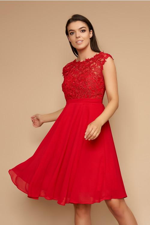 Rochie eleganta cu dantela 1271QSr rosie