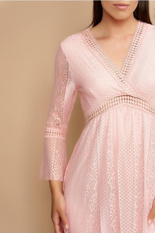 Rochie din dantela cu insertie broderie 2681 Roz