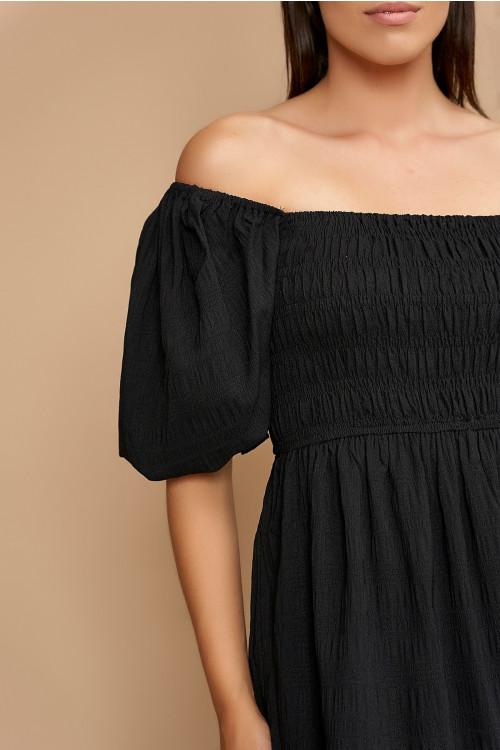 Rochie de vara cu maneca bufanta 22670 Neagra