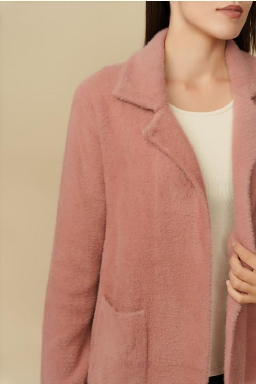 Jacheta pulover dama cu buzunare B1202 Roz