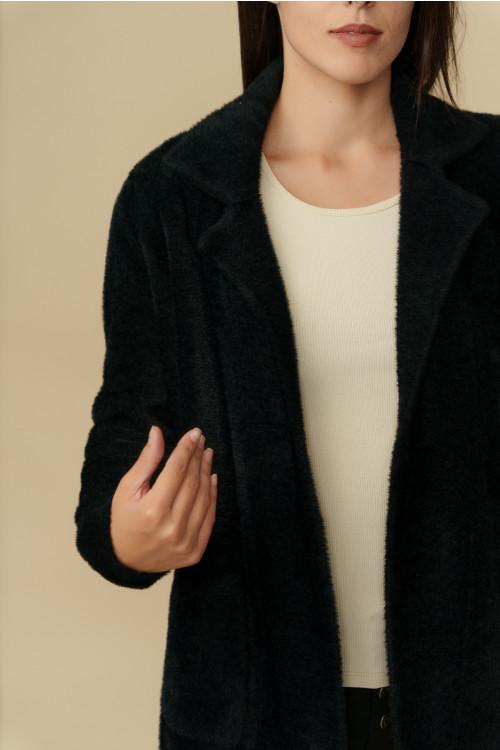 Jacheta pulover dama cu buzunare B1202 Neagra