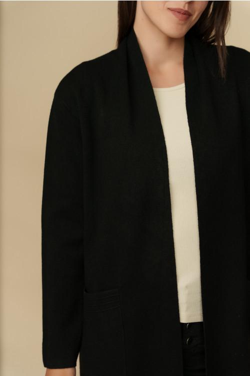 Jacheta pulover cu snur pe spate T252 Neagra
