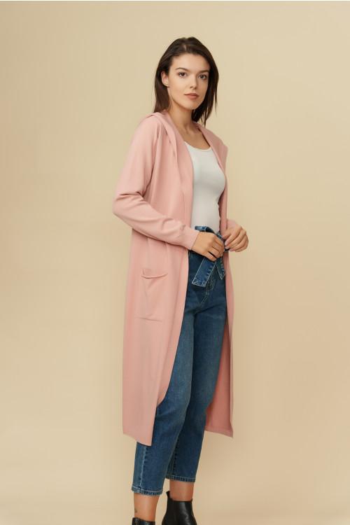 Pulover jacheta cu gluga 2102 Roz