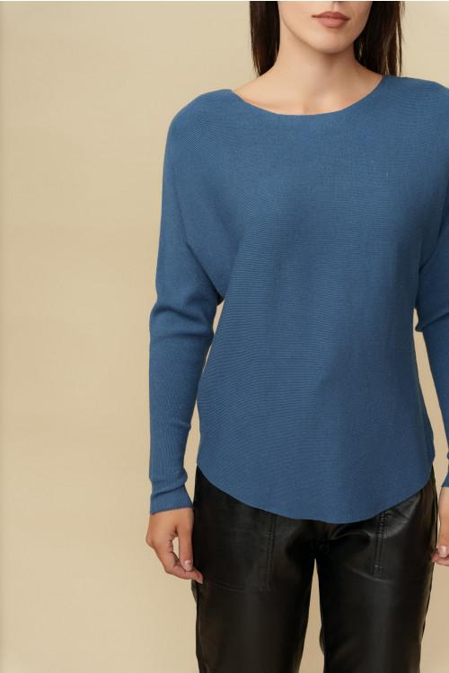 Pulover femei cu striatii 5102 Albastru