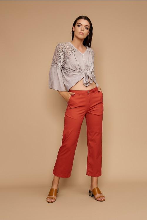 Pantaloni casual cropp F2153-11 Caramiziu