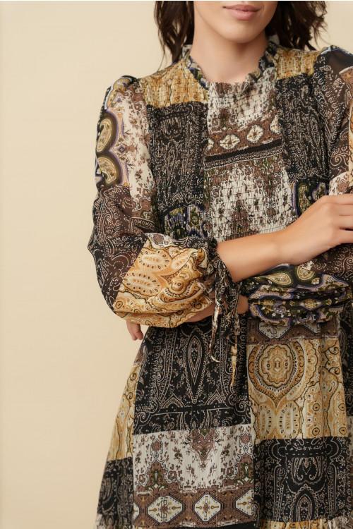 Rochie din voal cu snur maneca 3689 Neagra