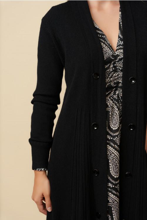 Jacheta pulover dama midi A7200 Negru