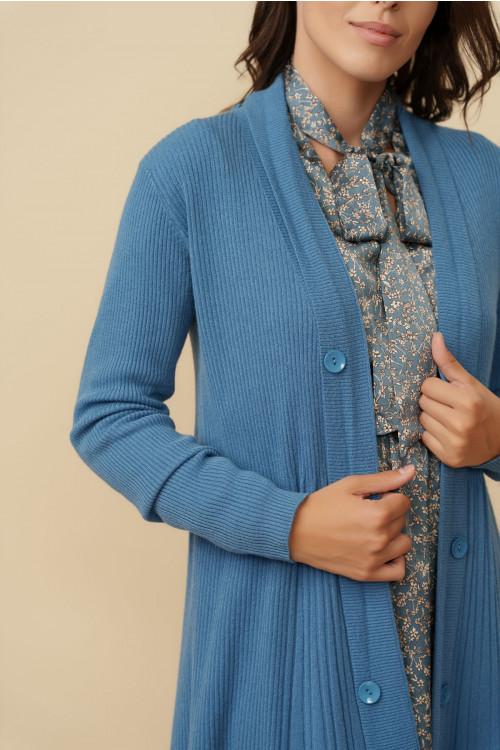 Jacheta pulover dama midi A7200 Albastru