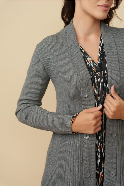 Jacheta pulover dama midi A7200 Gri