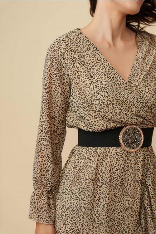 Rochie din voal cu imprimeu leopard CY1228 Bej