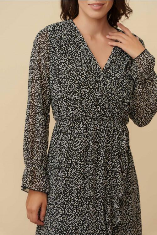 Rochie din voal cu imprimeu leopard CY1228 Neagra