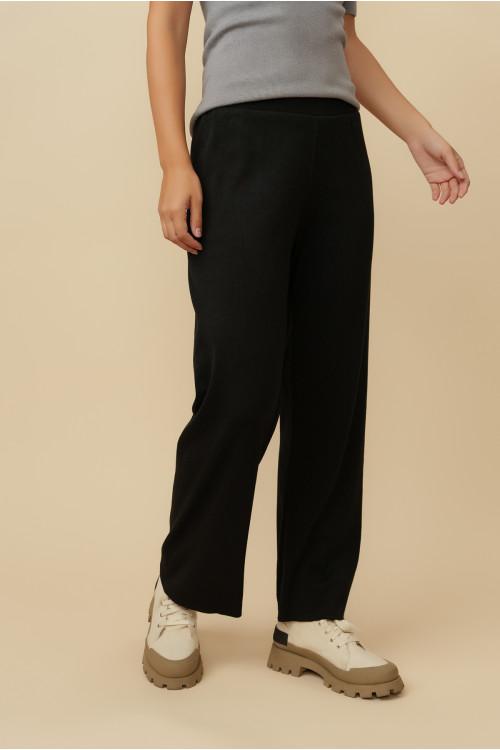 Pantaloni drepti cu striatii 5035-1 Negri