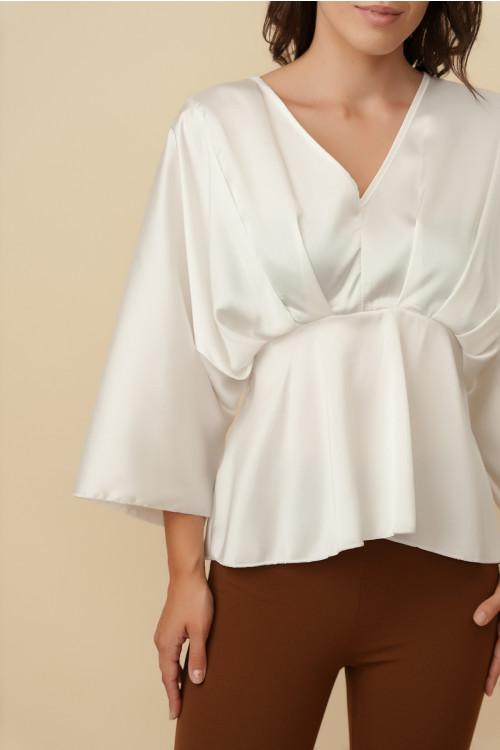 Bluza eleganta din satin E083 Alb