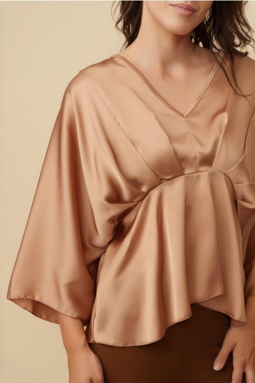 Bluza eleganta din satin E083 Bej