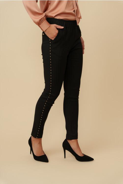 Pantaloni dama cu capse L050 Negri