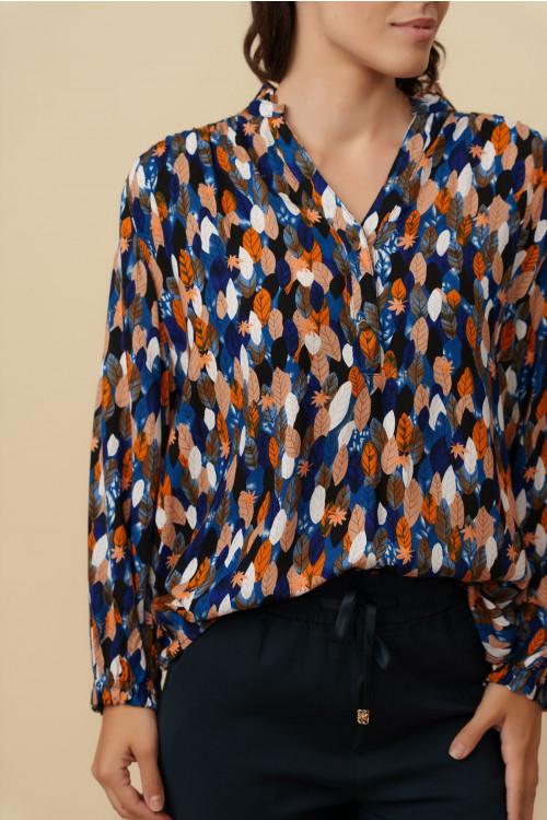 Camasa dama cu imprimeu tomnatic C936G Albastru