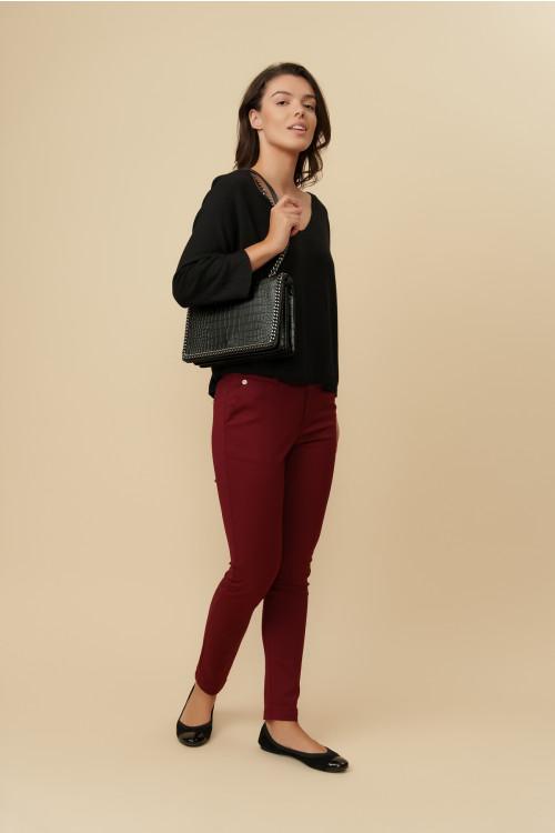 Pantaloni dama cu talie incretita L040 Grena