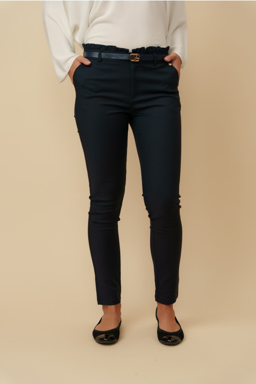 Pantaloni dama cu talie incretita L040 Bleumarin