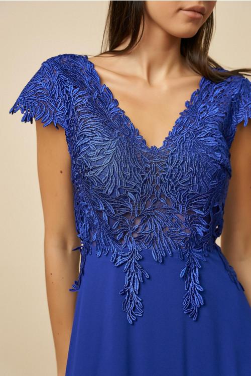 Rochie de ocazie cu broderie florala R1387 Albastru