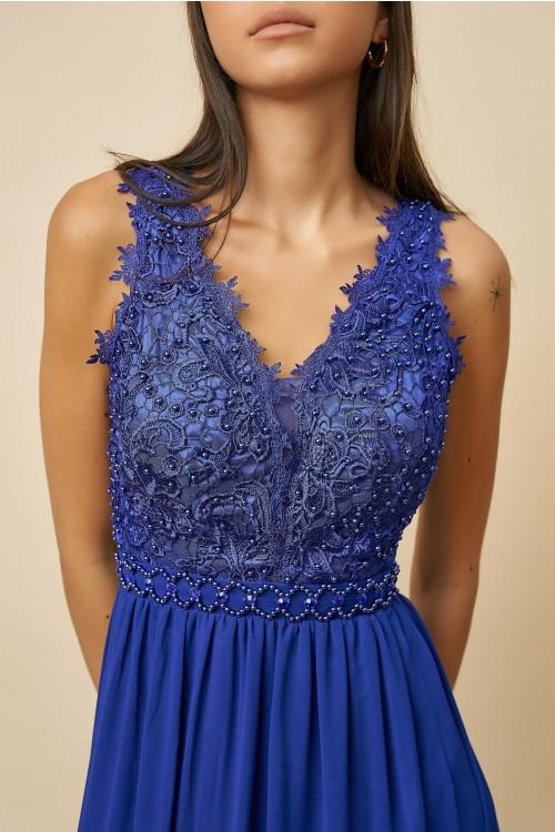 Rochie de ocazie cu spate decupat R1327 Albastru
