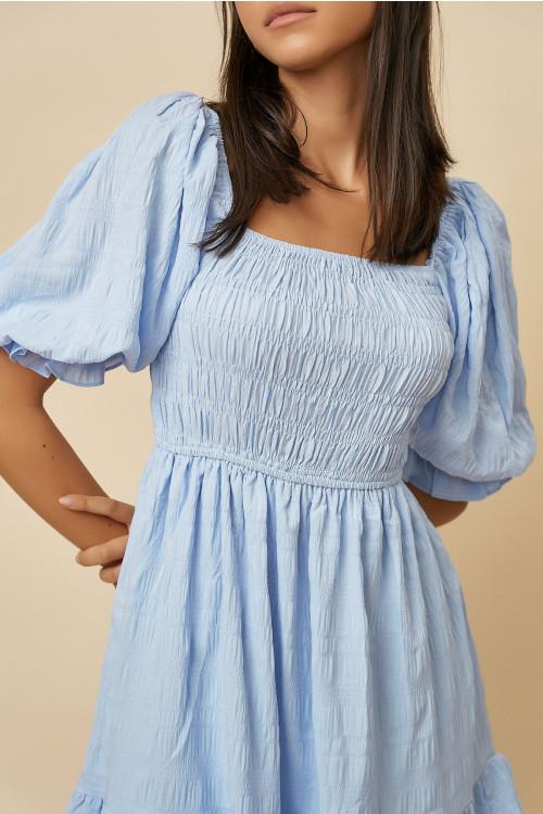 Rochie de vara cu maneca bufanta 22670 Bleu