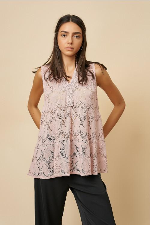 Bluza din dantela florala 9731 Roz