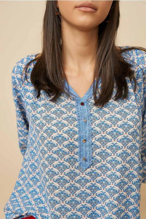 Bluza dama cu imprimeu F2129-8 Bleu