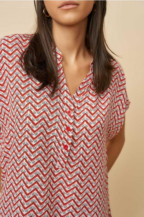 Bluza dama cu imprimeu in zig-zag C1263 Rosu