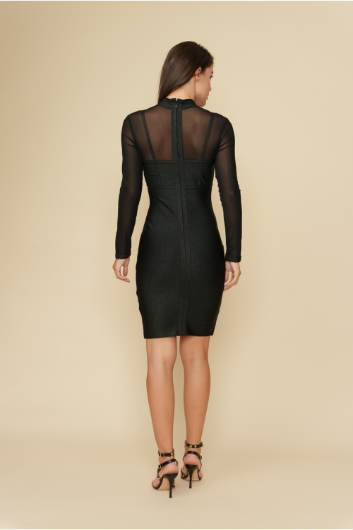 Rochie de seara cu insertie plasa 609731 Neagra
