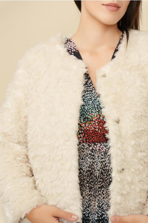 Jacheta dama din blana ecologica Y154 Ecru