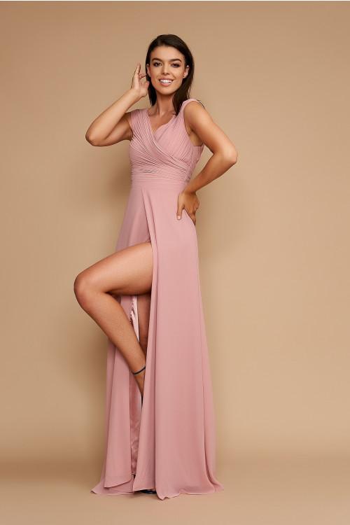 Rochie de ocazie cu crapatura pe picior R1390 Roz