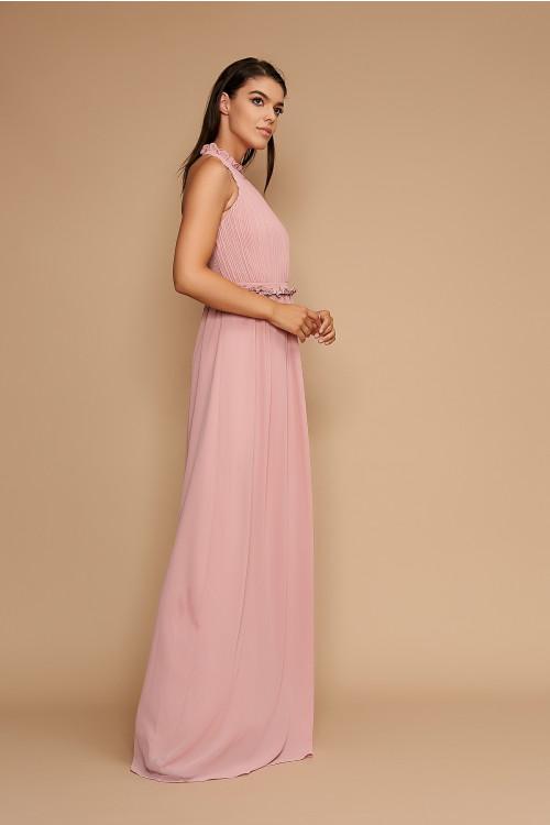 Rochie de seara lunga R1374R roz