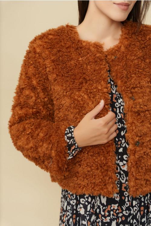 Jacheta dama din blana ecologica Y154 Camel