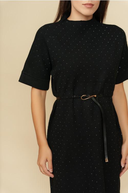 Rochie tricotata cu strasuri aplicate B1249 Neagra