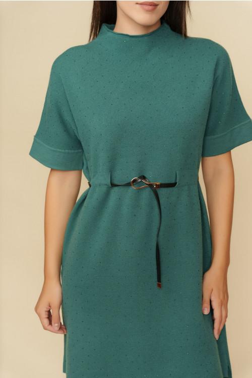Rochie tricotata cu strasuri aplicate B1249 Verde