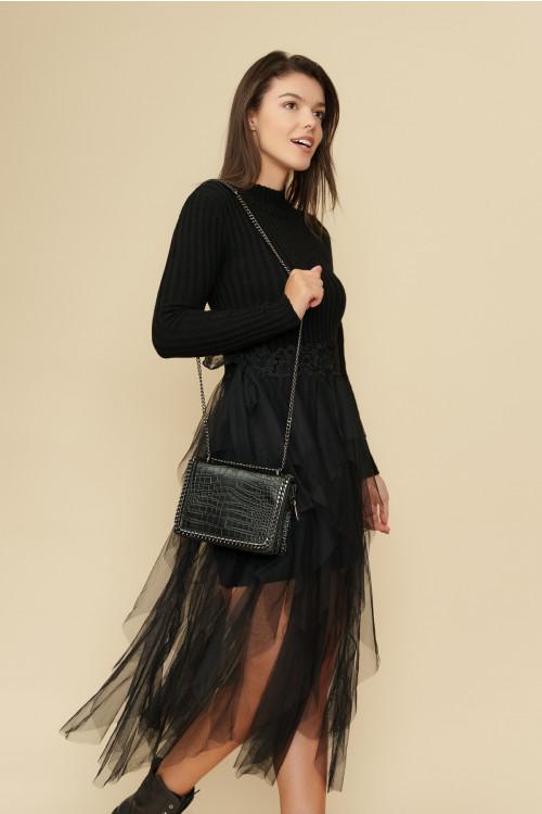 Rochie tricotata cu tull aplicat 5733 Neagra