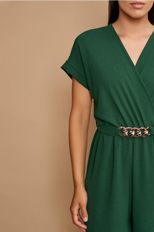 Salopeta dama cu accesoriu in talie B2223 Verde
