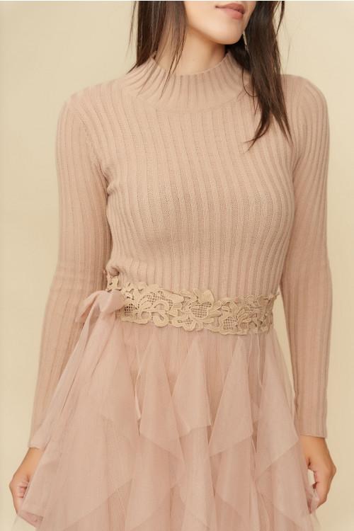 Rochie tricotata cu tull aplicat 5733 Bej