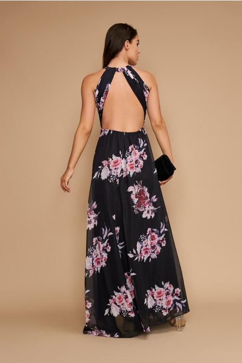 Rochie lunga de seara cu imprimeu floral R1393 Negru