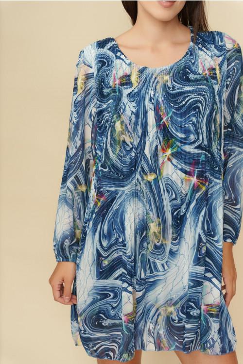 Rochie scurta cu imprimeu abstract 2978-139 Bleumarin